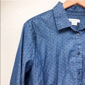 Polka Dot Chambray Button-Down Shirt